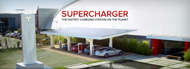 Tesla super charging stations