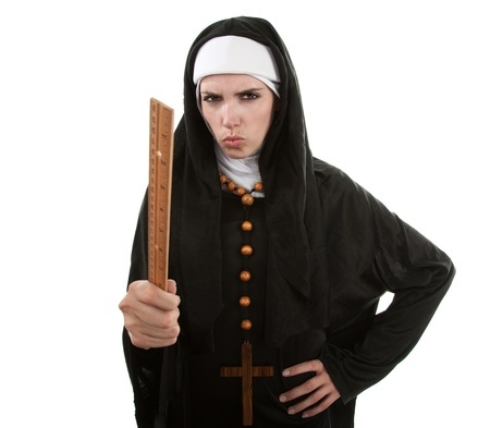 Nun with stick
