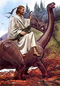 man riding dinosaur