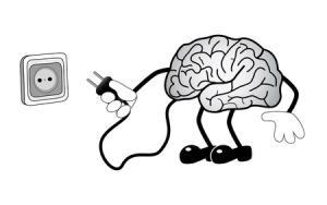 32760919 - cartoon illustration human brain with socket