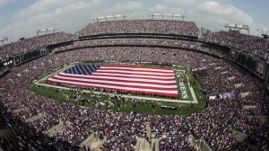 BALTIMORE, MD - SEPTEMBER 11: General view of fans cheering during ceremonies commemorating the 10th anniversary of the September 11, 2001 terrorist attacks before the start of the season opener between Baltimore Ravens and Pittsburgh Steelers game at M&T Bank Stadium on September 11, 2011 in Baltimore, Maryland. (Photo by Rob Carr/Getty Images)