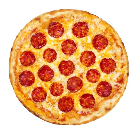 19039740 - thinly sliced pepperoni is a popular pizza topping in american-style pizzerias